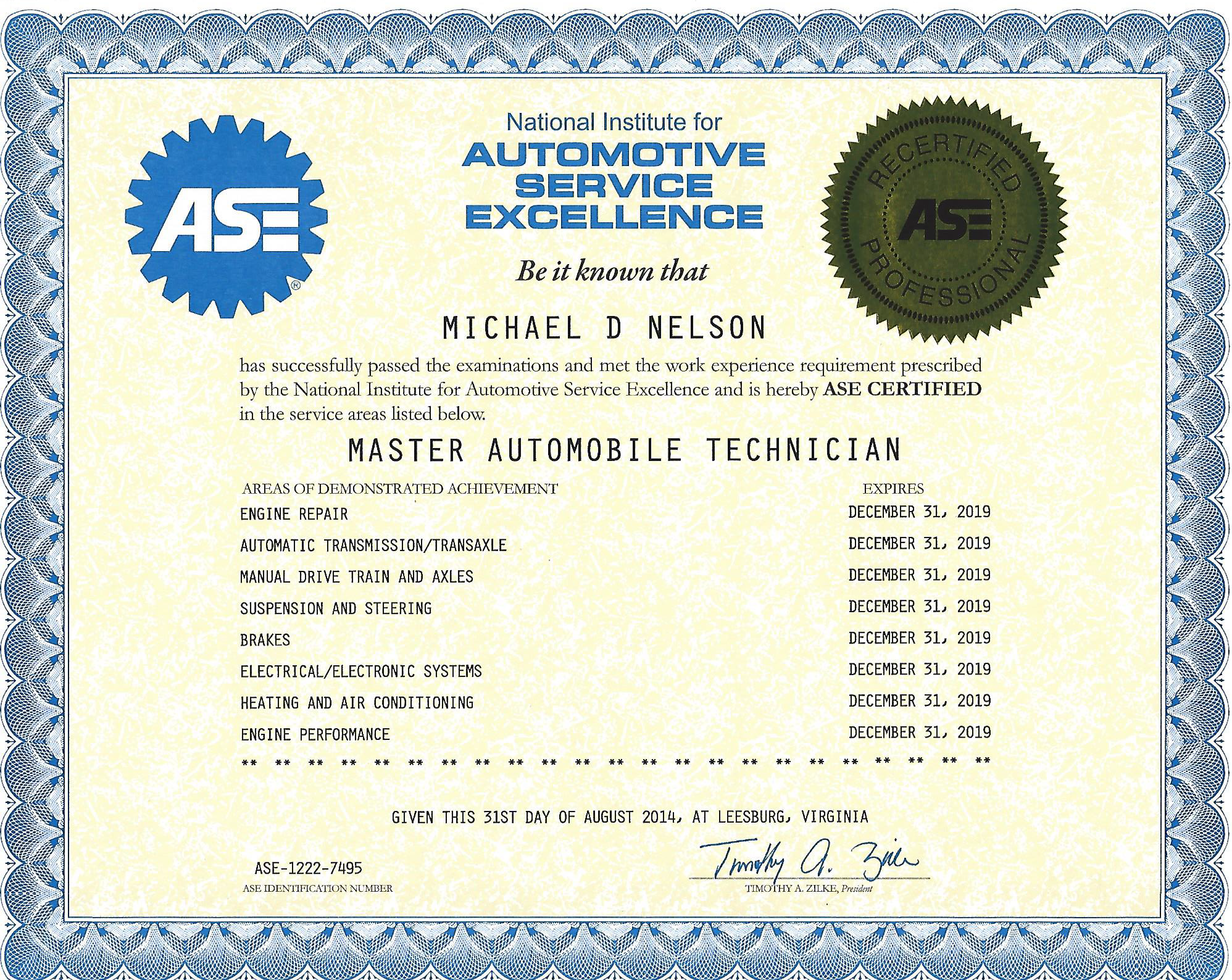 Mikes garage llc certifications general motors certifications are different than ase certifications in that they are hands on tests not multiple choice like ase 1betcityfo Image collections