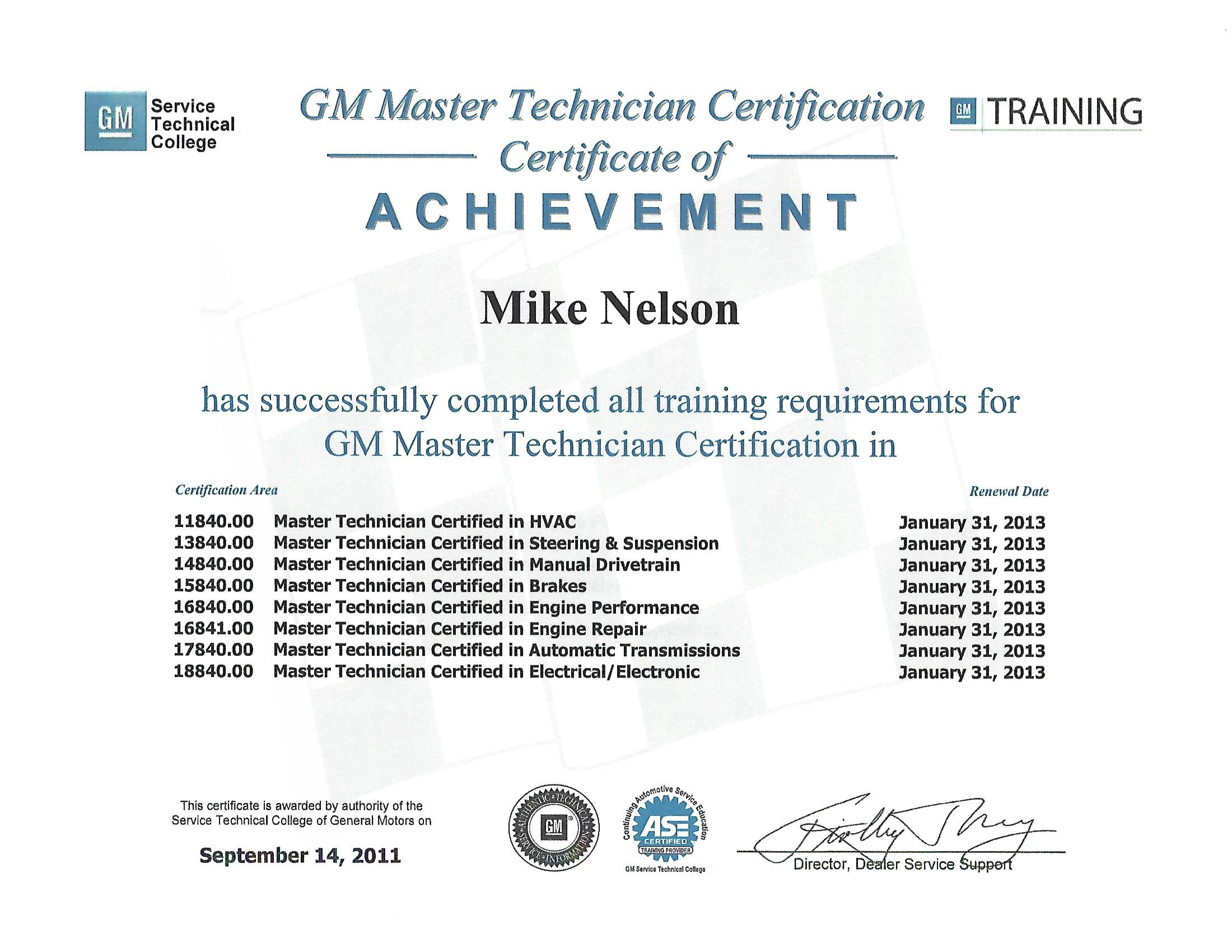 Mikes garage llc certifications general motors certifications are different than ase certifications in that they are hands on tests not multiple choice like ase xflitez Images